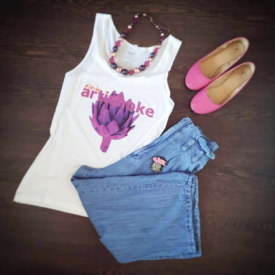Pink artichoke outfit